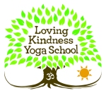 Loving Kindness Yoga School Logo, a tree with leaves that reach down to touch the roots.